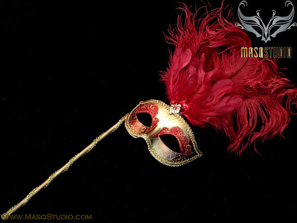 Venetian Style Ostrich tall Feather Gold Burgundy Red Stick Mask