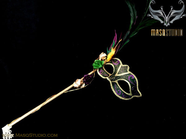 Venetian Style side roses feather Mardi Gras Green Stick Mask