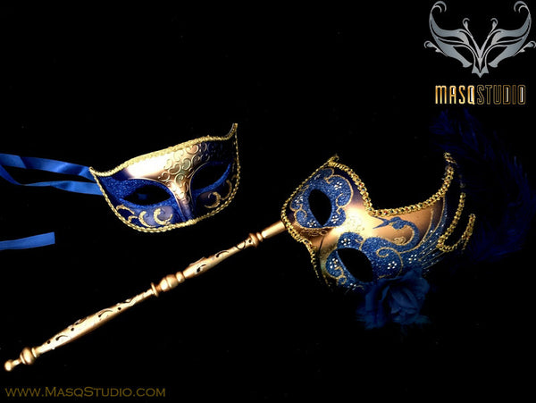 Venetian Couple Feather Masquerade Stick Mask Set Royal Blue Gold