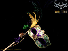 Venetian Style side roses feather Mardi Gras Gold Stick Mask