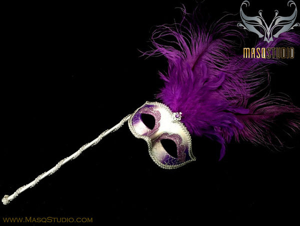 Venetian Style Ostrich tall Feather Silver Purple Stick Mask