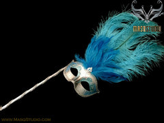 Venetian Style Ostrich tall Feather Gold Turquoise Stick Mask