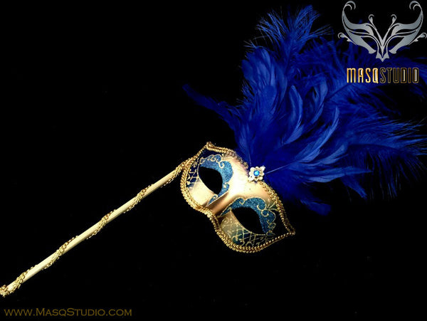 Venetian Style Ostrich tall Feather Gold Royal Blue Stick Mask