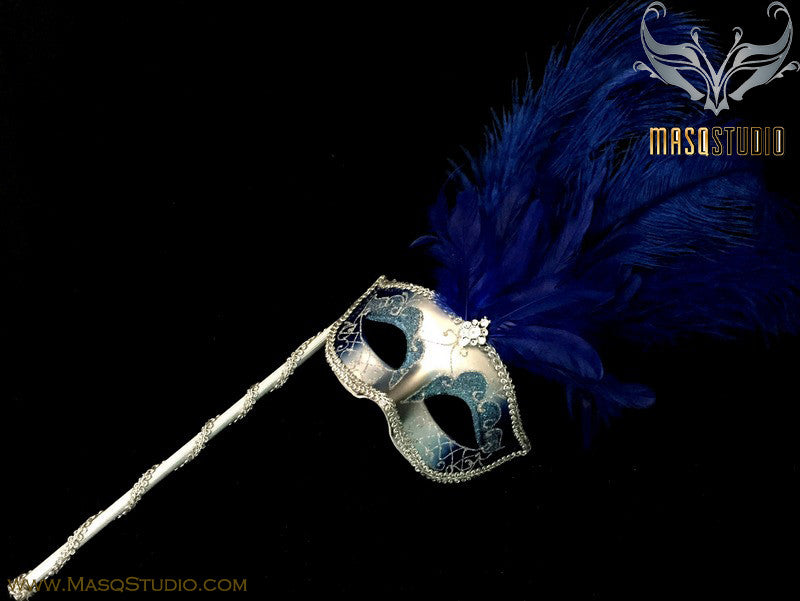 Venetian Style Ostrich tall Feather Silver Royal Blue Stick Mask