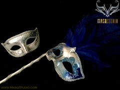 Venetian Couple Ostrich Feather Masquerade Stick Mask Royal Blue Silver