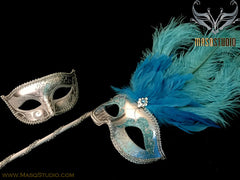 Venetian Couple Ostrich Feather Masquerade Stick Mask Turquoise Silver