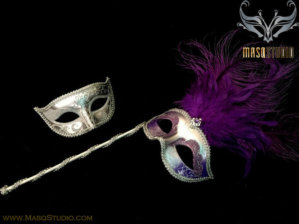 Venetian Couple Ostrich Feather Masquerade Stick Mask Purple Silver