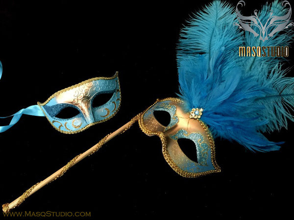 Venetian Couple Ostrich Feather Masquerade Stick Mask Set Turquoise Gold