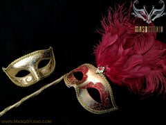 Venetian Couple Ostrich Feather Masquerade Stick Mask Red Gold