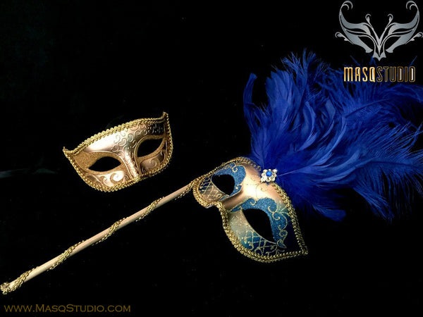 Venetian Couple Ostrich Feather Masquerade Stick Mask Royal Blue Gold