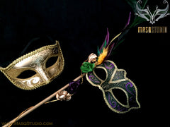 Venetian Couple Roses Feather Masquerade Stick Mask Green Gold