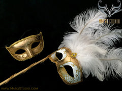Venetian Couple Ostrich Feather Masquerade Stick Mask White Gold