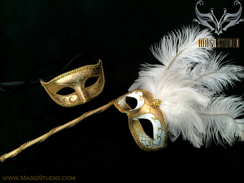 Venetian Couple Feather Masquerade Stick Mask Set Mardi Gras