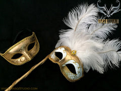 Venetian Couple Ostrich Feather Masquerade Stick Mask Set White Gold