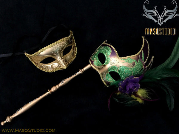 Venetian Couple Feather Masquerade Stick Mask Set Gold