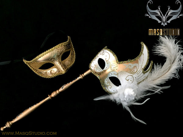 Venetian Couple Feather Masquerade Stick Mask Set White Gold