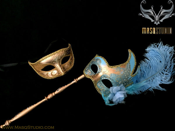 Venetian Couple Feather Masquerade Stick Mask Set Turquoise Gold