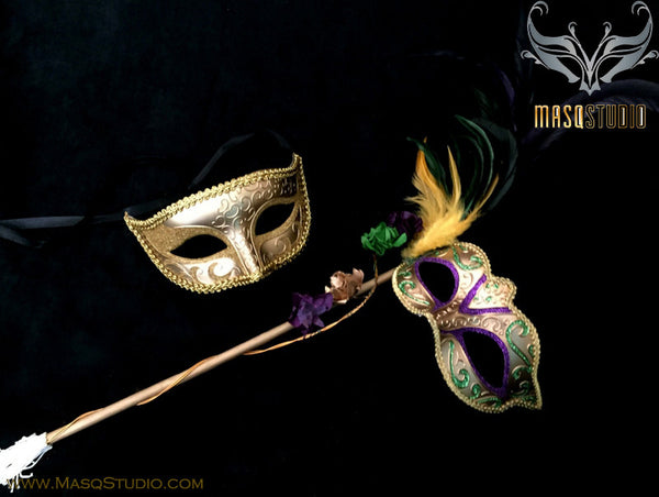 Venetian Couple Roses Feather Masquerade Stick Mask Gold