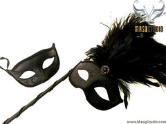 Venetian Couple Ostrich Feather Masquerade Stick Mask Solid Black
