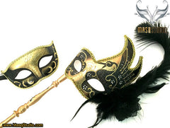 Venetian Couple Feather Masquerade Stick Mask Set Black Gold