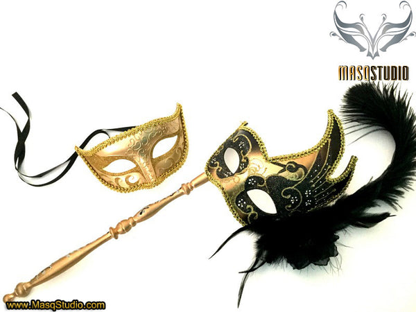 Venetian Couple Feather Masquerade Stick Mask Set Gold Black