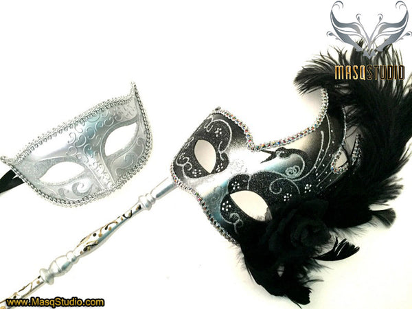 Venetian Couple Feather Masquerade Stick Mask Pair Silver Black