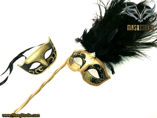 Venetian Couple Ostrich Feather Masquerade Stick Mask Gold Black Gold