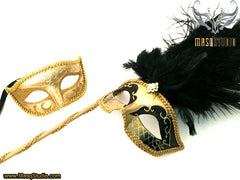 Venetian Couple Ostrich Feather Masquerade Stick Mask Gold Black
