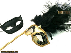 Venetian Couple Ostrich Feather Masquerade Stick Mask Black Gold