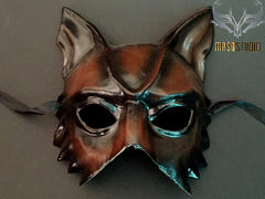 Vintage paper mache Halloween Devil masquerade mask Black Cherry Accent Finishing Animal mask