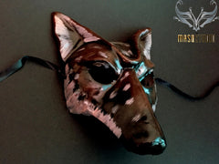 Vintage paper mache men's masquerade wolf mask Black Cherry Finish