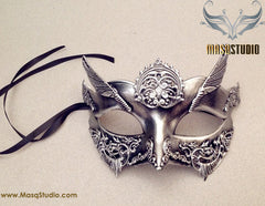Steampunk Roman Gladiator Couple Masquerade Ball Mask Pair Silver