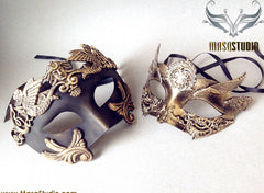 Steampunk Roman Gladiator Couple Masquerade Ball Mask Pair Bronze