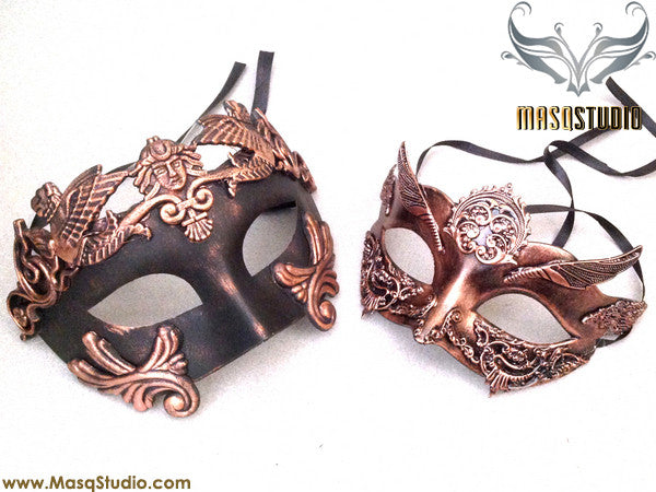 Steampunk Roman Gladiator Couple Masquerade Ball Mask Pair Copper
