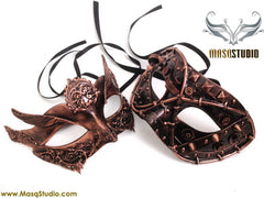 Steampunk Couple Masquerade Ball Mask Pair Metallic Copper