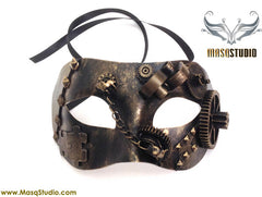 Couple Masquerade Ball Mask Pair Steampunk Metallic Bronze