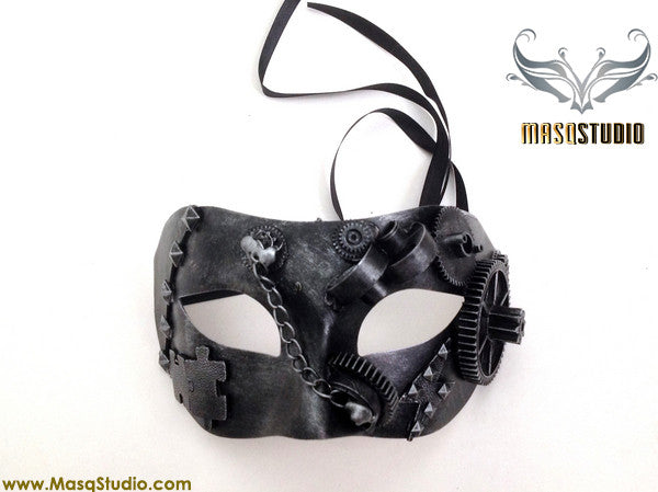Steampunk Costume Mens Masquerade Ball Mask Metallic Silver Grey