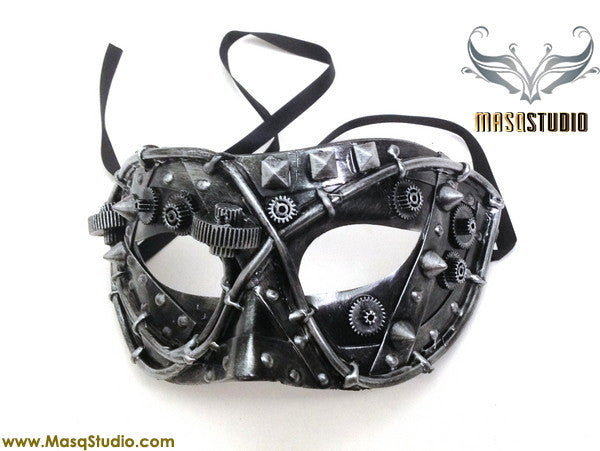 Steampunk Costume Prom Party Mens Masquerade Ball Mask Black Silver