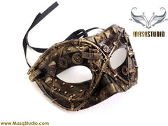 Steampunk Couple Masquerade Ball Mask Pair Metallic Gold