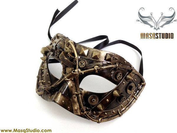 Steampunk Costume Prom Party Mens Masquerade Ball Mask Black Gold