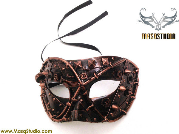 Steampunk Costume Prom Party Mens Masquerade Ball Mask Rose Gold