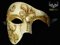 Men's phantom of the opera masquerade crack Gold mask