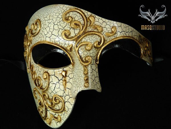 Men's phantom of the opera masquerade crack Black mask