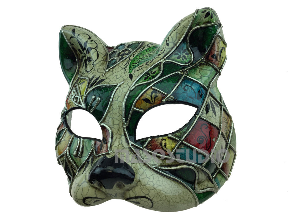 Full Face Venetian Masquerade Animal Kitty Cat Mask Teal Green