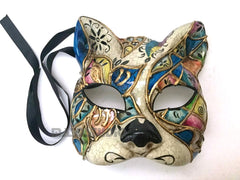 Full Face Venetian Masquerade Animal Kitty Cat Mask Blue
