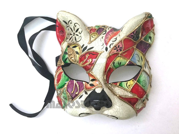 Full Face Venetian Masquerade Animal Kitty Cat Mask Red