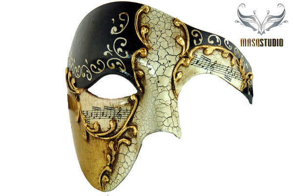 Men's phantom of the opera masquerade black gold mask