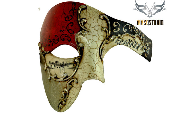 Men's phantom of the opera masquerade silver red mask
