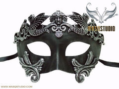 Men's Masquerade Mask Roman Gladiator Thor Antique Silver