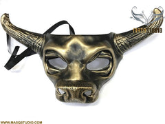 Animal Masquerade ball Cow mask Bull Ox Mask Wear or Wall Deco Black Gold